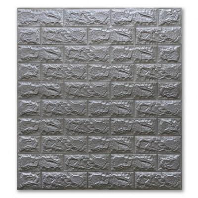 Мягкие 3D панели 700x770x7мм (самоклейка) Кирпич Серебро