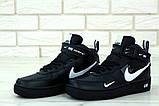 Кроссовки мужские Nike Air Force 1 в стиле найк форсы Черные (Реплика ААА+), фото 3
