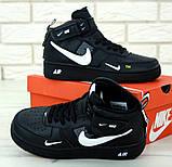Кроссовки мужские Nike Air Force 1 в стиле найк форсы Черные (Реплика ААА+), фото 4