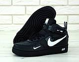 Кроссовки мужские Nike Air Force 1 в стиле найк форсы Черные (Реплика ААА+), фото 5