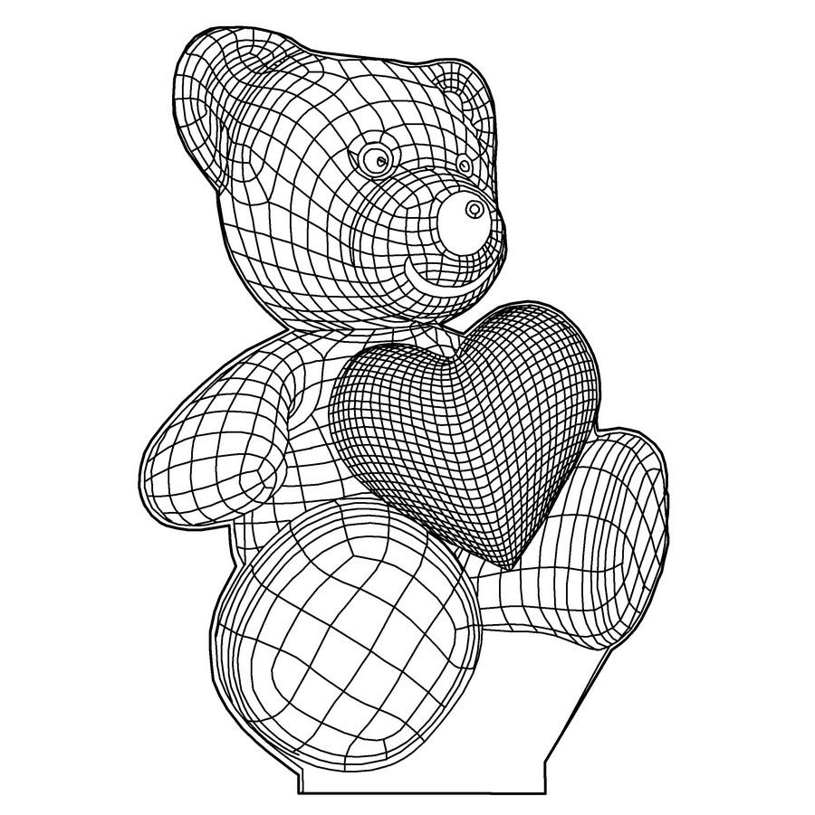 Акриловый светильник-ночник Мишка с сердцем tty-n000022