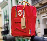 Женский рюкзак сумка канкен красный с радужными ручками 16 литров Fjallraven Kanken classic rainbow радуга, фото 4