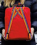 Женский рюкзак сумка канкен красный с радужными ручками 16 литров Fjallraven Kanken classic rainbow радуга, фото 2