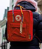 Женский рюкзак сумка канкен красный с радужными ручками 16 литров Fjallraven Kanken classic rainbow радуга, фото 3