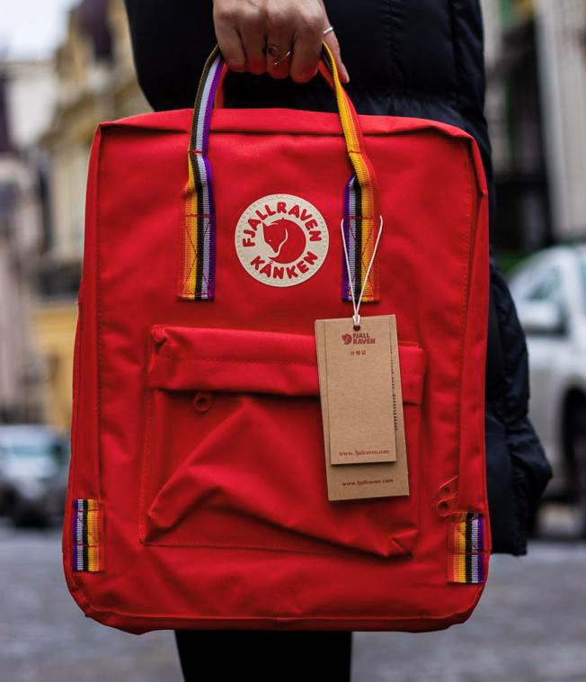 Женский рюкзак сумка канкен красный с радужными ручками 16 литров Fjallraven Kanken classic rainbow радуга