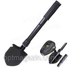 Складная саперная лопатка Lesko с чехлом компасом походная армейская малая туристическая лопата