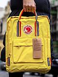 Рюкзак сумка женский канкен желтый с радужными ручками Fjallraven Kanken Classic Rainbow 16 литров радуга, фото 2