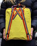 Рюкзак сумка женский канкен желтый с радужными ручками Fjallraven Kanken Classic Rainbow 16 литров радуга, фото 3