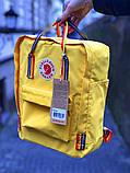 Рюкзак сумка женский канкен желтый с радужными ручками Fjallraven Kanken Classic Rainbow 16 литров радуга, фото 5