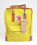 Рюкзак сумка женский канкен желтый с радужными ручками Fjallraven Kanken Classic Rainbow 16 литров радуга, фото 8