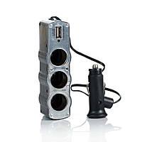 АЗУ разветвитель WEIFENG, 12V-3*12V+USB, Silver, Blister