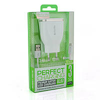 Набор 2 в 1 СЗУ With MicroUSB Cable 110-240V Bavin PC636Y, 3xUSB, 5V, 3.4A, White, Blister-Box