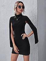 Женское платье-кейп под горло в рубчик черного цвета, фото 1