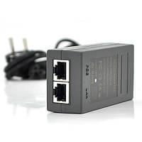 POE инжектор 24V 1A (24Вт) с портами Ethernet 10/100/1000Мбит/с  + кабель питания (92*72*50) 0.095 кг