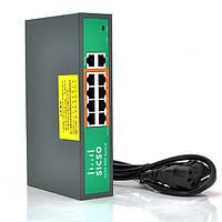 Комутатор POE SICSO 48V з 8 портами POE 100мбіт + 2 порт Ethernet(UP-Link) 100мбіт, c усил. сигн. до 250м,