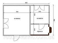 Дом 6м х 4м с терассой 2м х 1,5м