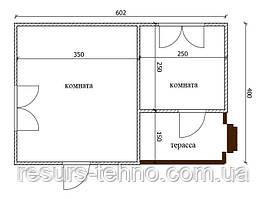 Будинок 6м х 4м з терасою 2м х 1,5 м