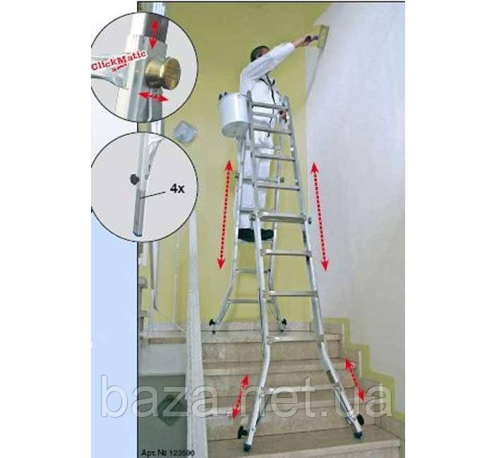 Телескопические лестницы KRAUSE Шарнирная телескопическая лестница с удлинителями боковин KRAUSE Stabilo 4х4