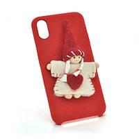 Накладка Angel пушистая  iPhone X red