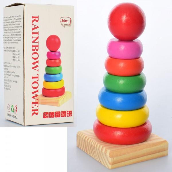 Деревянная игрушка Пирамидка арт 2272 в коробке,15,5-7,5-7 см