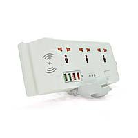Мережевий фільтр BKL-20, 3 Розетки + 4 USB, Wireess Power 10W,2 м, перетин 3х0,75мм, White, Box