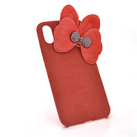 Накладка Пушистая Бантик iPhone 6/6s red