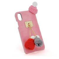 Накладка Пушистая Шапки iPhone 7/8 pink