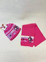 Шапка-шарф для девочки (46-48)р Микки розовый Турция 7372