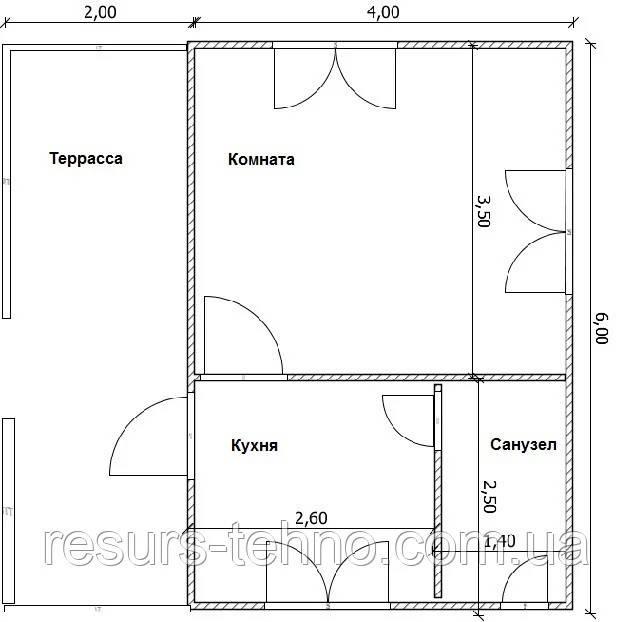Дом 4м х 6м