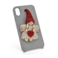 Накладка Angel пушистая  iPhone X silver