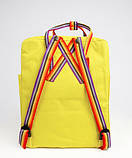 Молодежный рюкзак-сумка канкен радуга Fjallraven Kanken classic rainbow 16 л. желтый с радужными ручками, фото 7