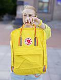 Молодежный рюкзак-сумка канкен радуга Fjallraven Kanken classic rainbow 16 л. желтый с радужными ручками, фото 5