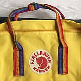 Молодежный рюкзак-сумка канкен радуга Fjallraven Kanken classic rainbow 16 л. желтый с радужными ручками, фото 9