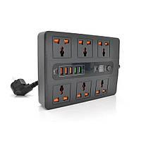 Мережевий фільтр BKL-11+TIMER, 3 Розетки + 5 USB, PD3.0, 2 м, перетин 3х0,75мм, White, Box