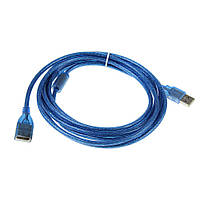 Удлинитель USB 2.0 AM/AF, 5.0m, 1 феррит, прозрачный синий Q100