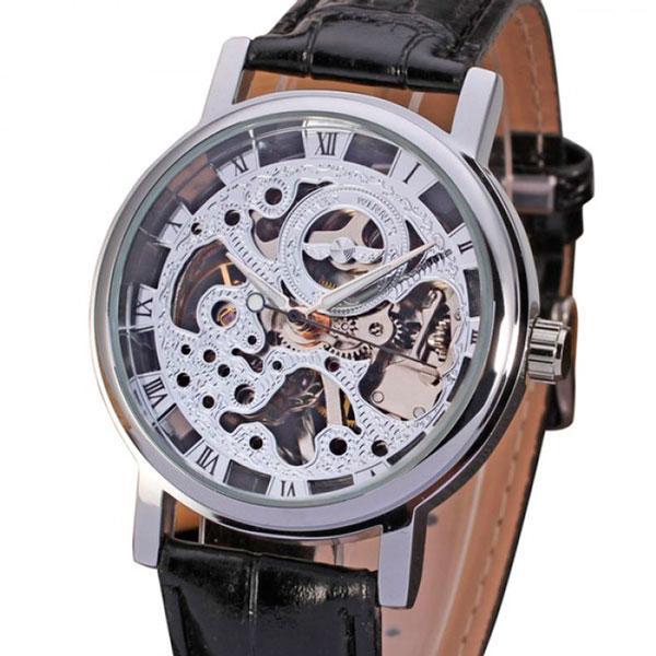 Механические часы скелетон Winner silver II серебристые