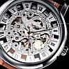 Механические часы скелетон Winner silver II серебристые, фото 4