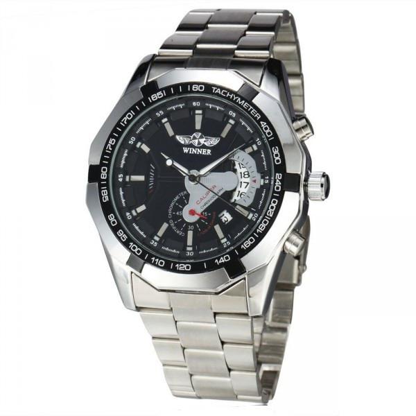 Мужские механические часы скелетон Winner titanium серебристые с черным циферблатом