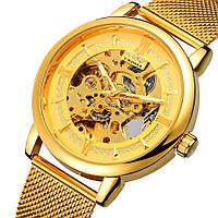 Мужские механические часы скелетон Winner Aperol золотые с золотистым циферблатом