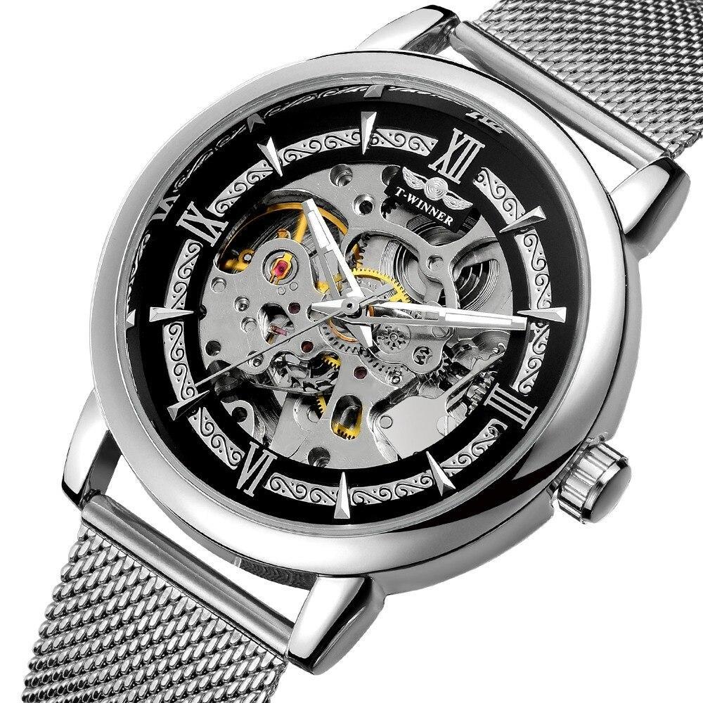 Winner Aperol серебристые с серебристым циферблатом мужские механические часы скелетон