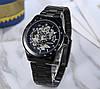 Winner Tony черные с черным циферблатом мужские механические часы скелетон, фото 3