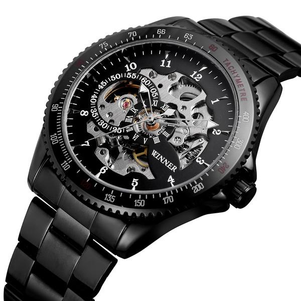 Winner Tony черные с черным циферблатом мужские механические часы скелетон