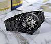 Winner Tony черные с черным циферблатом мужские механические часы скелетон, фото 8
