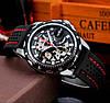 Winner Platinum черные с черным циферблатом мужские механические часы скелетон, фото 2