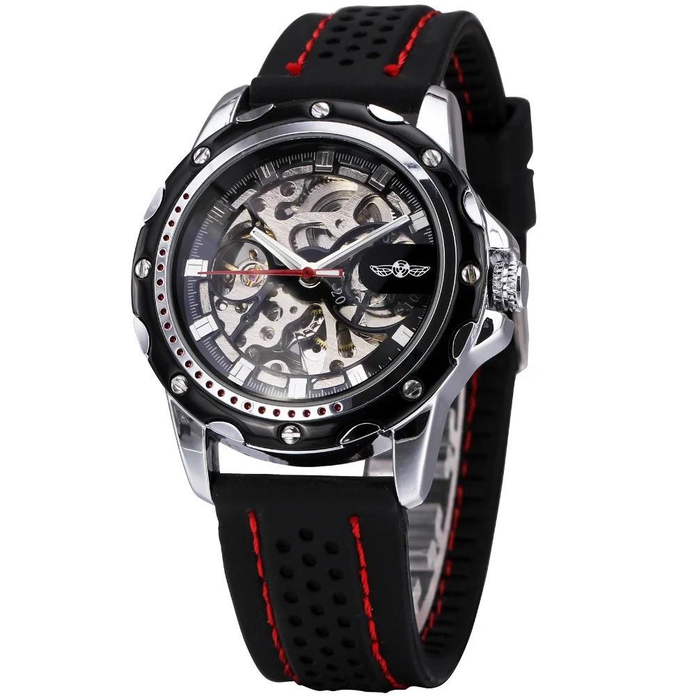 Winner Platinum черные с черным циферблатом мужские механические часы скелетон