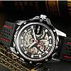 Winner Platinum черные с черным циферблатом мужские механические часы скелетон, фото 5