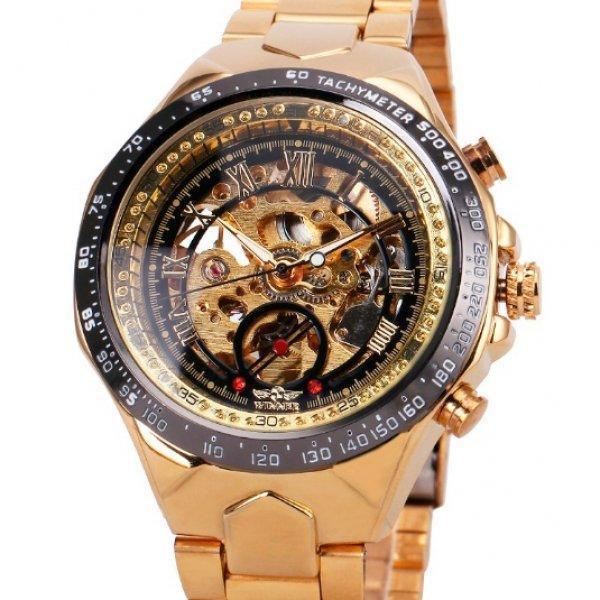 Winner action золотистые с золотистым циферблатом мужские механические часы скелетон