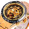 Winner action золотистые с золотистым циферблатом мужские механические часы скелетон, фото 4