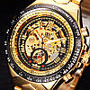 Winner action золотистые с золотистым циферблатом мужские механические часы скелетон, фото 5