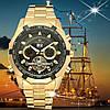 Мужские механические часы скелетон Forsining texas золотистые с черным циферблатом, фото 8